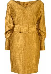 Lapointe Crocodile Jacquard Dress - Dourado