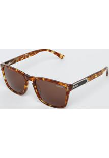 Óculos De Sol Quadrado - Marrom & Laranjacolcci