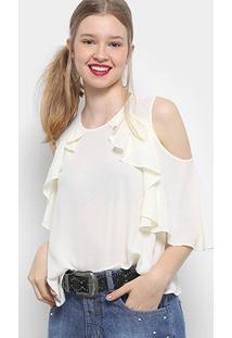 Blusa Drezzup Open Shoulder Babados Feminina - Feminino-Off White