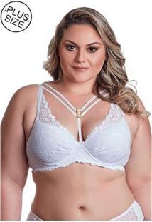 Sutiã Plus Size Dukley Lingerie Strappy De Renda Feminina - Feminino-Branco