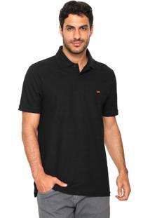 Camisa Polo Lee Reta Logo Preta