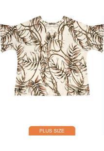 Blusa Feminina Plus Size Estampada Bege