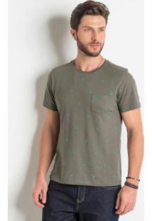 Camiseta Com Bolso Marrom E Estampa Étnica Azul