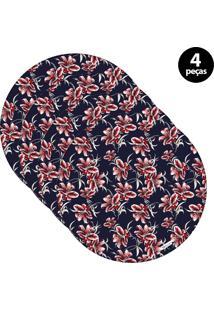 Capa Para Sousplat Mdecore Floral Azul Marinho 4Pçs