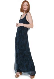 Vestido Desigual Longo Estampado Azul