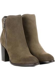 Bota Couro Cano Curto Shoestock Salto Bloco Feminina - Feminino-Cinza