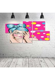 Quadro Decorativo - Pop-Girl-Pink - Composto De 5 Quadros