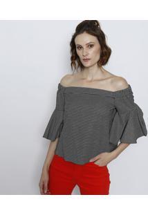 Blusa Ciganinha Geométrica- Preta & Brancatvz