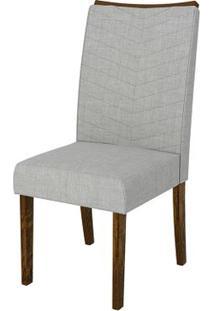 Cadeira Serena 2 Peças - Rústico Malbec Com Linho Claro