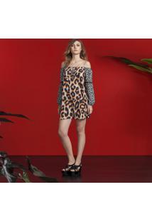 Vestido Ombro A Ombro Estampa Leopardo - Lez A Lez