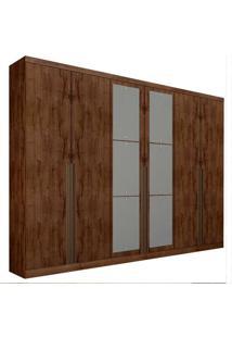 Guarda-Roupa Casal Com Espelho 6 Portas Quebec- Novo Horizonte - Canela