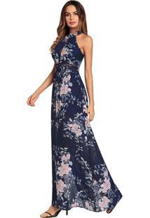 Vestido Longo Floral Com Laço Nas Costas - Azul Royal Xg