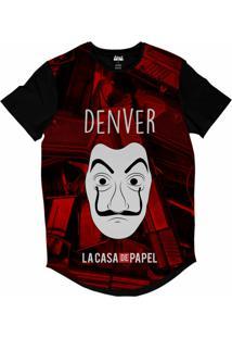 Camiseta Longline Attack Life La Casa De Papel Denver Sublimada Vermelho