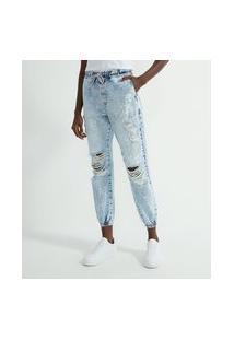 Calça Jogger Jeans Com Rasgos E Respingos | Blue Steel | Azul | 42