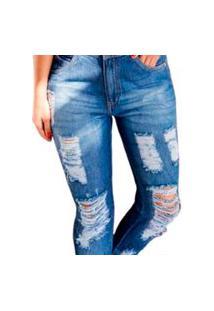 Calça Jeans Feminina Tradicional Reta Desfiada