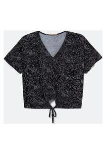 Blusa De Malha Crepe Poá Curve E Plus Size Preto