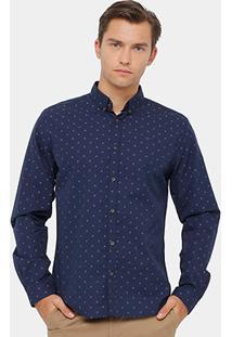 Camisa Social Colcci Manga Longa Estampada Masculina - Masculino