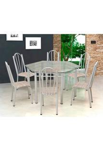 Conjunto De Mesa Com 6 Cadeiras Lorena Branco E Estampa Rattan