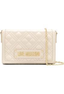 Love Moschino Logo Quilted Crossbody Bag - Branco