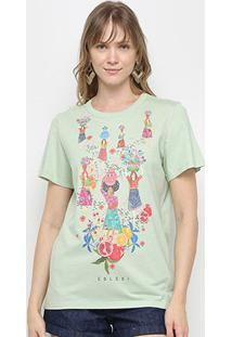 Camiseta Colcci Tropical Feminina - Feminino-Verde
