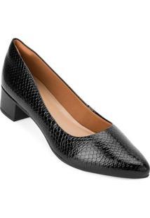 Sapato Salto Baixo Snake Aquarela Aq20-002 - Feminino-Preto
