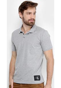 Camisa Polo Calvin Klein Piquet Etiqueta Patch Masculina - Masculino
