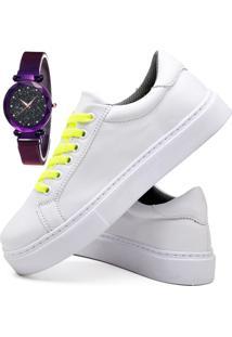 Tênis Sapatênis Casual Fashion Com Relógio Luxury Feminino Dubuy 310El Branco - Kanui