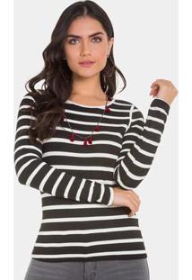 Blusa Malha Wave Stripe Long Preto/ Off White