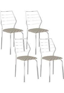 Cadeira 1716 Cromada 04 Unidades Retrô Metalizado Carraro