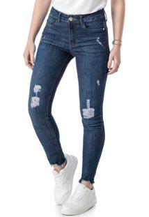 Calça Azul Escuro Push Up Em Jeans
