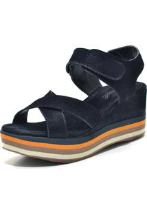 Sandália Flatform Iza Tonelli Nobucado Preto Fechamento Em Velcro Solado Listrado Colorido