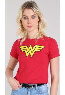 Blusa Feminina Mulher Maravilha Manga Curta Decote Redondo Vermelha