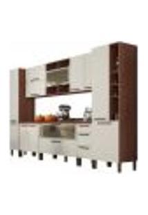 Cozinha Modulada Completa 11 Peças Viv Concept C09 Off White/Nogueira - Kit´S Paraná