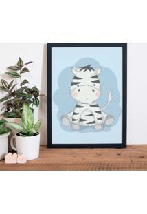 Quadro Decorativo Infantil Zebra Baby Preto - 30X40Cm - Multicolorido - Dafiti