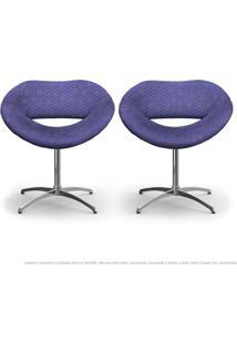 Kit 2 Cadeiras Beijo Colmeia Rosa E Lilás Poltrona Decorativa Com Base Giratória