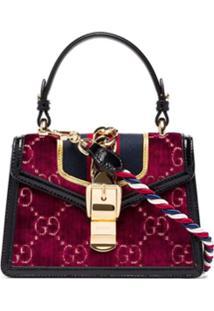 Gucci Multicoloured Sylvie Mini Logo Velvet And Leather Shoulder Bag - Vermelho