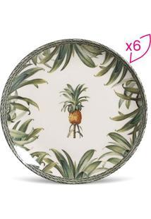Jogo De Pratos Rasos Coup Pineapple Green- Branco & Verdporto Brasil