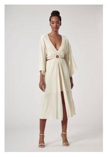 Vestido De Crepe Argola Branco Perola