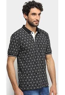 Camisa Polo Broken Rules Geométrica Masculina - Masculino-Preto