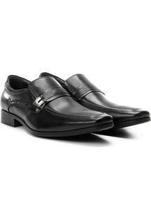 Sapato Casual Couro Democrata Cronos Flex Cushion Fivela - Masculino-Preto