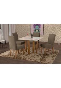 Conjunto De Mesa De Jantar Com 4 Cadeiras E Tampo De Madeira Maciça Valencia Suede Cinza E Off White