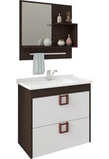 Gabinete Suspenso Para Banheiro Lírio Com Espelho 59X35,5Cm Café E Branco