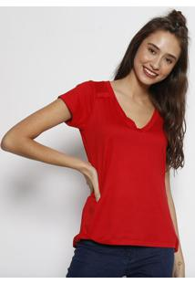 Camiseta Lisa Com Recorte- Vermelhaangel
