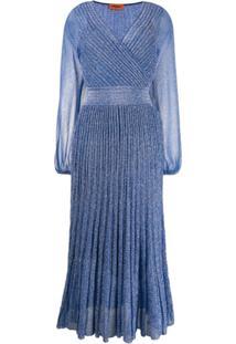Missoni Vestido Envelope Com Pregas - Azul