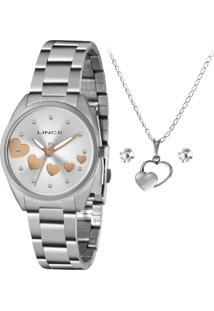 Relógio Feminino Lince Prata (Com Gargantilha E Par De Brincos)Lrmh156L-Kz73S1Sx