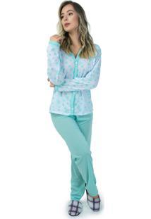 Pijama Mvb Modas Aberto Blusa Com Botões E Calça Verde