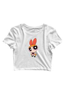 Blusa Blusinha Feminina Cropped Tshirt Camiseta Florzinha Branco