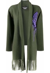 Boutique Moschino Cardigan Com Detalhe Floral - Verde