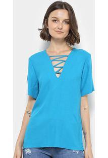 Blusa Colcci Básica Decote V Feminina - Feminino-Azul Piscina