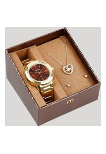Kit De Relógio Analógico Mondaine Feminino + Brinco + Colar - 53727Lpmgde2K Dourado